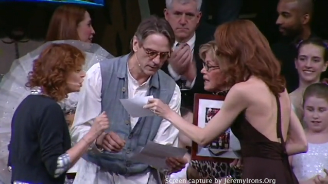 Screen captures of Jeremy Irons at the Easter Bonnet Competition