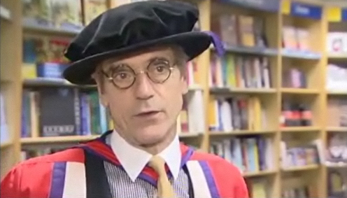 Video of Jeremy Irons receiving an honorary doctorate