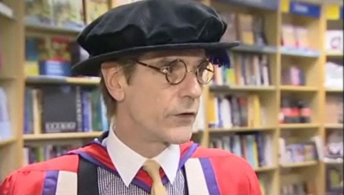 Photos of Jeremy Irons receiving an honorary doctorate