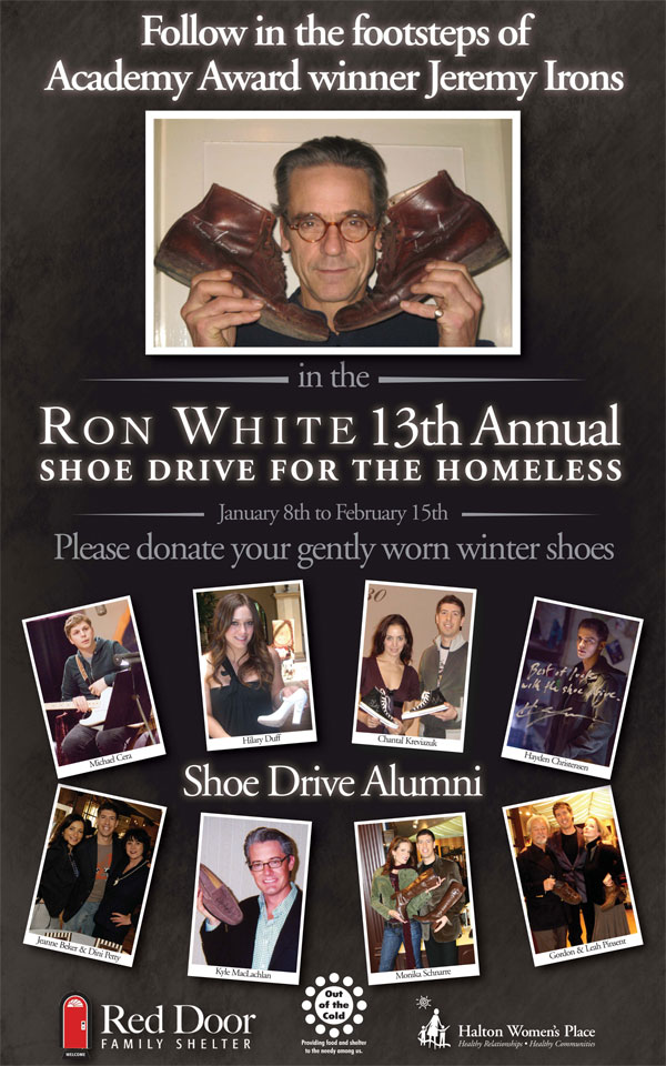 Jeremy Irons donates shoes to Ron White Shoe Drive