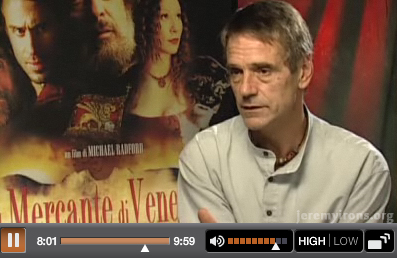 Jeremy Irons - The Merchant of Venice Interview